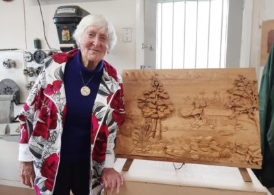 Megan Godfrey with her carving